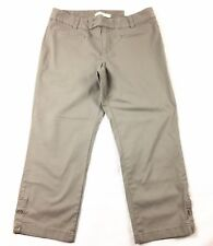 New Ann Taylor Loft Womens Crop Pants Size 8 Marisa Chinos Stretch Taupe Career