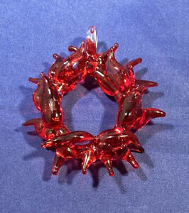 Vintage Glass Red Peppers Christmas Wreath Ornament
