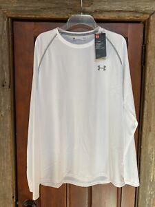 Under Armour Men's Long Sleeve Heat Gear Tech Shirt White/Gray - Large