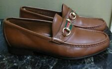 Men's GUCCI 'Horsebit' Brown Leather Loafers Size 43.5 D
