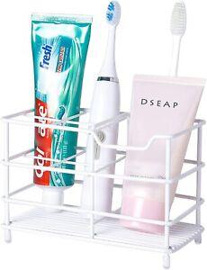 Stainless Steel Toothbrush Toothpaste Holder Organizer for Bathroom White