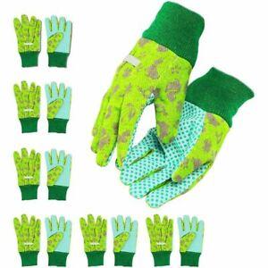 Kids Gardening Work Gloves, Ages 3-6 (Green, 6 Pairs)
