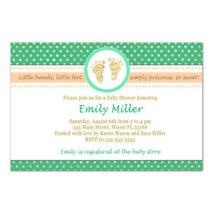 30 invitations cards unisex baby shower peach mint green footprints gold