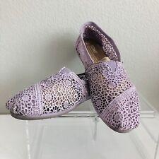 Toms Flats Slip On Shoes Size 6 Lavender Purple Crochet Classic Casual Comfort