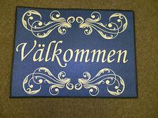 Scandinavian Swedish Valkommen Rosemaling Scroll Welcome Door Mat Rug #243 Blue