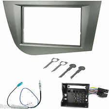 SEAT LEON MK2 2005 ONWARDS SILVER DOUBLE DIN FASCIA FACIA FITTING ADAPTER KIT