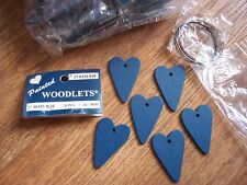 "Lot Of 72 Blue Wood Hearts 2"" Plus Wire 12 Pkgs Of 6 Ea Painted Woodlets"