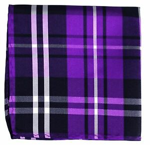 New Men's Polyester Woven pocket square hankie only black purple white plaid