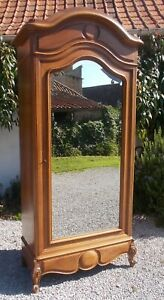Antique wardrobe, bonnetiere, merisier armoire,19th c. French, shelving, hanging