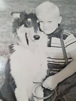 """VINTAGE HAPPY SMILING BOY WITH HIS DOG LARGE STOCK PHOTO ON CARDSTOCK 8.5""""X11"""""""
