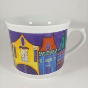 KATHERINE FLEMING 18oz Large Oversized Colorful Renaissance Village Coffee Mug