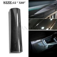 "5D Car Interior Accessories Panel Black Carbon Fiber Vinyl Wrap Sticker 12""x60"""