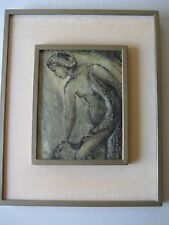 NUDE ORIGINAL OIL PAINTING ON ACRYLIC PLASTIC BOARD BY ERICK(?) W/WOODEN FRAME