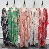 kimono Women Floral Chiffon Long Cardigan Islam Kaftan Abaya Maxi Cocktail Dress