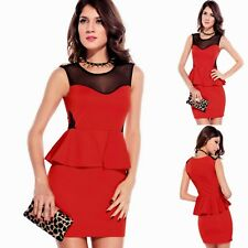 Sz M 10 12 Red w Studs Mesh Peplum Formal Dance Party Cocktail Chic Mini Dress