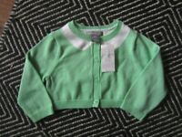 BABY GAP GIRL 3 6 GREEN WHITE CARDIGAN SWEATER NWT EASTER