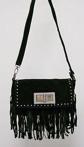 Super Suede Black Petite Handbag w/ Fringes & Long Adjustable Strap