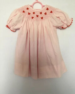 Smocked A Lot Girls Dress Smocked Pink Red Hearts Size 6 Months