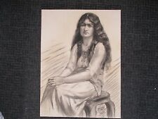 Excellent Large unframed Antique 1916 Charcoal Portrait Sketch of Gypsy Woman