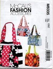 McCall's Sewing Pattern 6335 Large Ladies Fashion Purses Handbags Tote Bags NEW