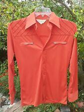 Vintage Romeo Men's 1970's 100% Poly Orange Zippered Breast Pockets Disco Shirt