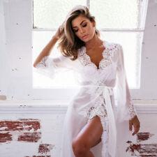 UK Sexy Promotional Long Women Bride Kimono Robe satin silk Night dressing Gown