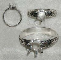 7x5 oval Deco ring setting SIZE 6.5 Sterling Silver ring casting