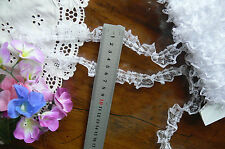 Nylon Fine Pleated-Gathered Flower Lace WHITE - 20mm wide - 5 Metre Lengths GaHg