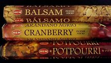 BALSAM Cranberry Potpourri 60 HEM Incense Sticks 3 Scent Sampler Gift Set