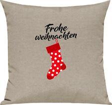 Kinder Kissen, Frohe Weihnachten Weihnachtssocke Merry Christmas, Kuschelkissen