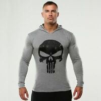 The Punisher Men Gym Thin Fitness Long Sleeve Hoodies Sweatshirt Casual Shirt