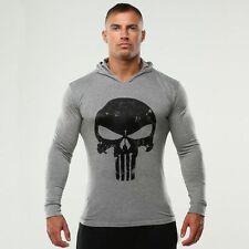 The Punisher Men Gym Thin Hoodie Long Sleeve Hoodies Sweatshirt Casual  T-Shirt
