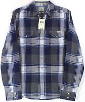 Lucky Brand Blue/Gray Big Plaid Pearl Snap Long Sleeve Western Shirt Size Small