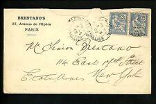 Postal History France Scott #136(2) Perfin 5/8/1903 Paris to New York NY