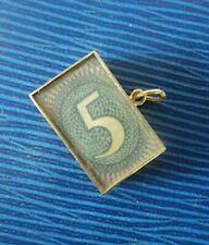 Rare 9ct Gold Bracelet Emergency Money Charm - £5 Five Pounds -  h/m 1965 London