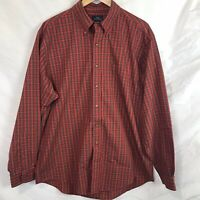 Brooks Brothers Red Plaid Men's button down long sleeve shirt No Iron Large