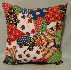 Homemade Handmade 12x12 Quilted Vintage Material Pillow