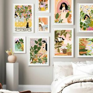 Abstract Girl Natural Geometry Leaf Plant Nordic Posters And Prints Wall Art