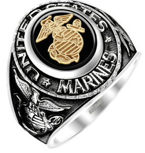 Men's Antiqued Two Tone 0.925 Sterling Silver or Vermeil US Marine Corps Ring