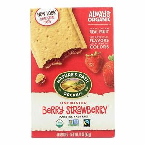 Nature's Path Organic Unfrosted Toaster Pastries - Berry Strawberry - Case Of 12