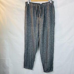 Women's large Muji grey cotton linen loungewear trousers drawstring herringbone
