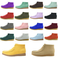 Amali Men's High Top Desert Chukka Boots Lace Up Moc Toe Suede Casual Shoes