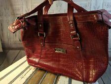 Nine west tote bag handbag travel carry on shoulder buckle red