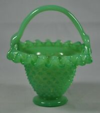 Vintage Green Jadeite Glass Ruffled Basket Handle Hobnail