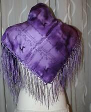 NEU violett REIN SEIDE  SILK Dirndl Trachten Tuch  HANDDRUCK geknöpften Fransen