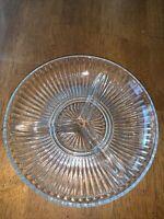 "Vintage Clear Glass Oval 3 Divided Nut Candy Relish Dish Sunburst Pattern 8"""