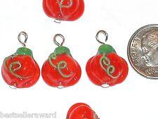 2pc Murano Glass Pumpkin dangle pendant charm Lampwork fruit bead findings NEW