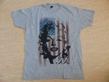 Neues MARILYN Flag T-Shirt - Gr L Rockabilly Punk Monroe Oldschool Kult Grau