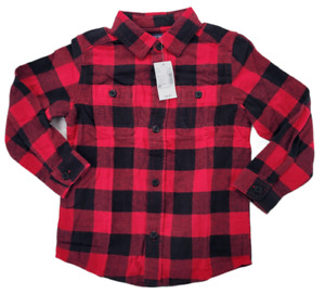The Children's Place Toddler Boys Red Plaid Flannel Button Up Shirt Size 4T