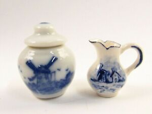 Miniature Artisan Delft Style Pitcher & Porcelain Cookie Jar for Dollhouse E334